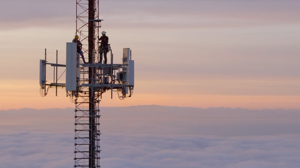 Technicians on a cell tower