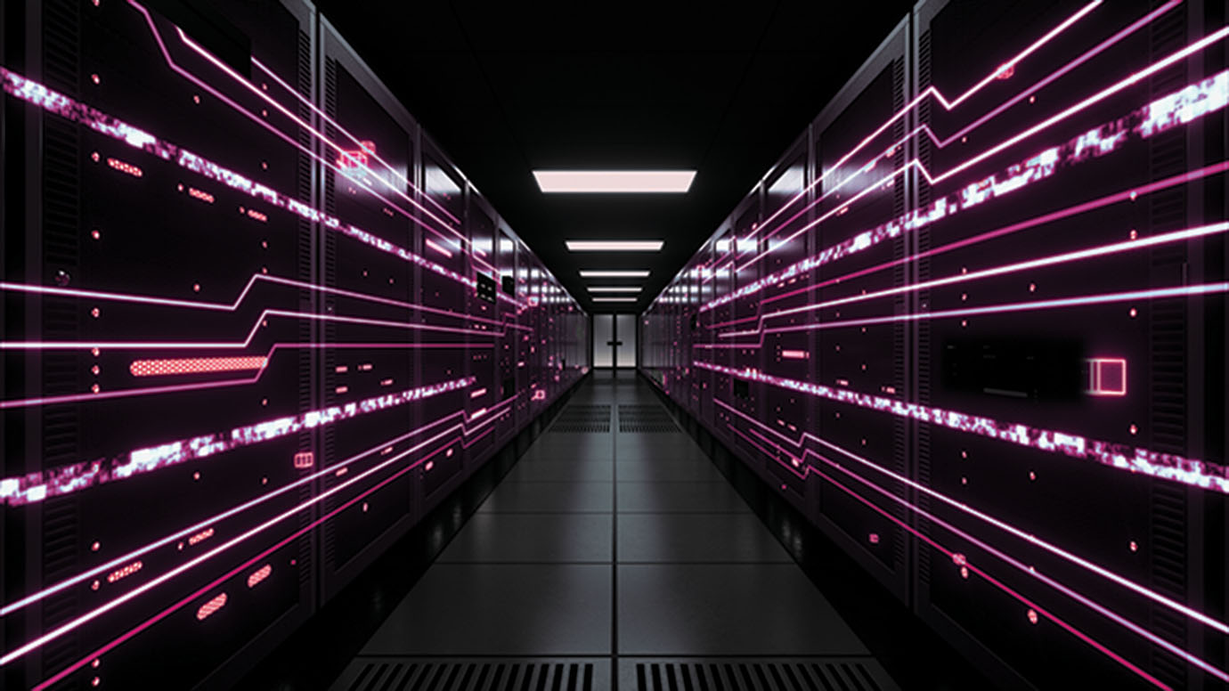 Server room with red lighting