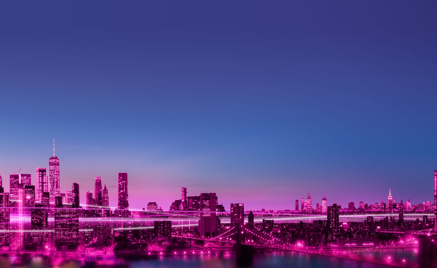 A Cityscape tinted pink with streaks of light weaving through buildings