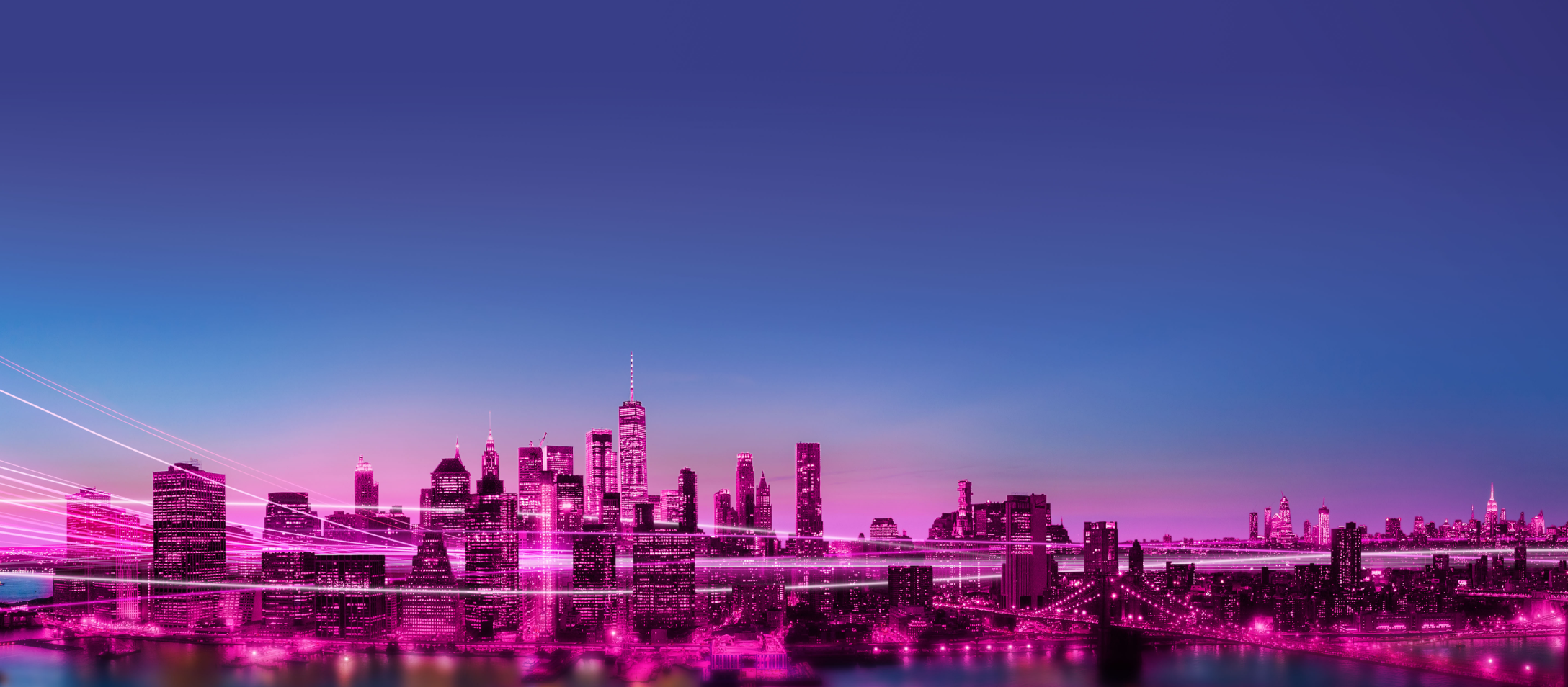 Pink cityscape with streaks of light weaving between buildings